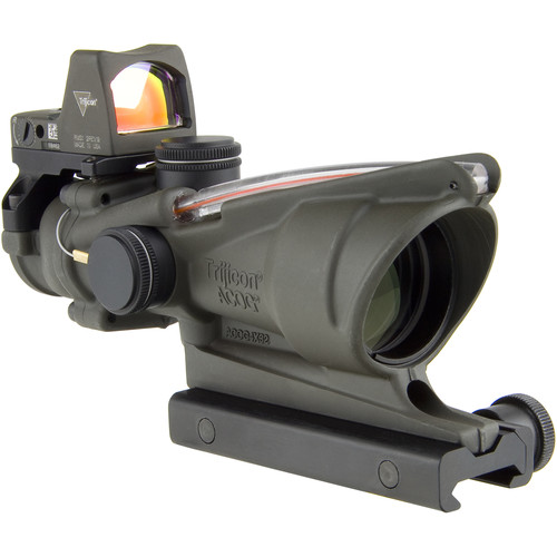 Trijicon 4x32 ACOG Dual Illuminated Riflescope and 3.25 MOA Red Dot Type 2 RMR Sight Kit (DI .223 Red Chevron Reticle, Cerakote OD Green)