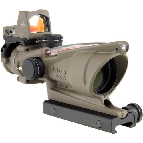Trijicon 4x32 ACOG Dual Illuminated Riflescope and 3.25 MOA Red Dot Type 2 RMR Sight Kit (DI .223 Red Chevron Reticle, Cerakote Flat Dark Earth)