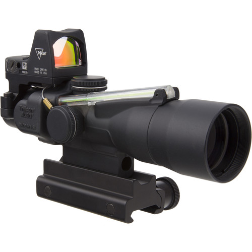 Trijicon 3x30 TA33 ACOG Riflescope and 3.25 MOA Red Dot Type 2 RMR Kit (5.56 Green Horseshoe Dot Reticle, Matte Black)