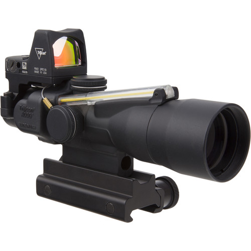 Trijicon 3x30 TA33 ACOG Riflescope and 3.25 MOA Red Dot Type 2 RMR Kit (5.56 Amber Horseshoe Dot Reticle, Matte Black)