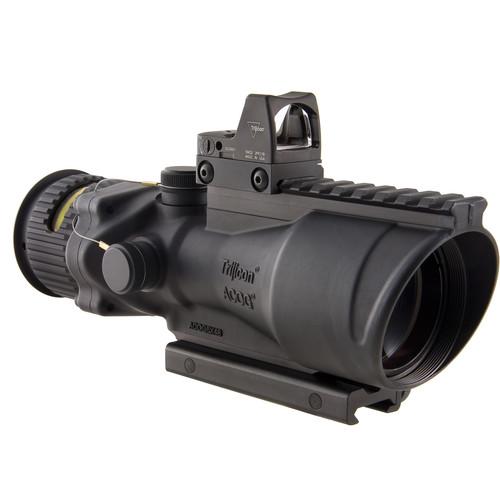 Trijicon 6x48 Dual Illuminated ACOG Machine Gun Optic and 6.5 MOA RMR Kit (.308 Amber Chevron Reticle, Matte Black)