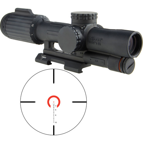 Trijicon 1-6x24 VCOG Riflescope (Red Horseshoe Dot .223/55 Reticle, Quick Release Mount)
