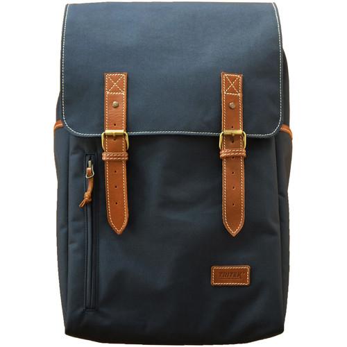 "Tritek Yildiz Backpack for 15"" Laptop (Navy, Tan Leather Trim)"