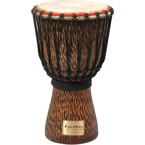 Tycoon Percussion Hand-Carved African Djembe (Chiseled Orange)