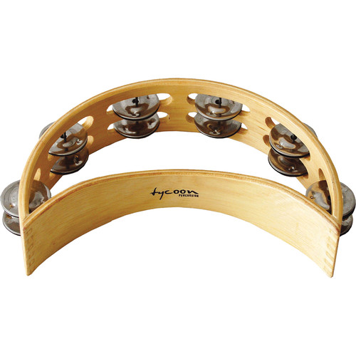 Tycoon Percussion Double Row Wooden Moon Tambourine (12 Pairs of Bright Chrome Jingles)