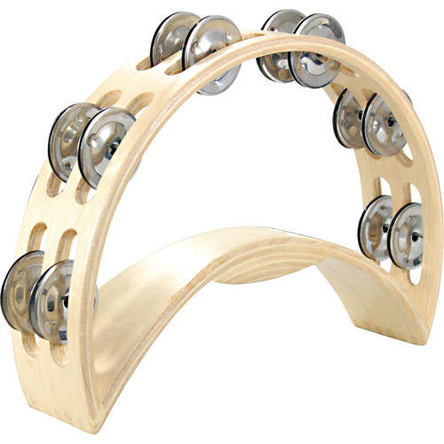 Tycoon Percussion Double Row Deluxe Wooden Moon Tambourine (12 Pairs of Bright Chrome Jingles)