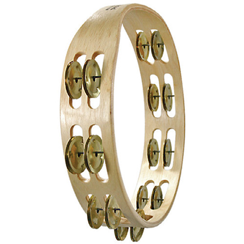 Tycoon Percussion Double Row Wooden Tambourine (16 Pairs of Bright Brass Jingles)