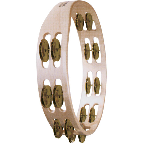 Tycoon Percussion Double Row Wooden Tambourine with Brass Jingles
