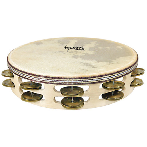 Tycoon Percussion Double Row Headed Tambourine (Brass Jingles)