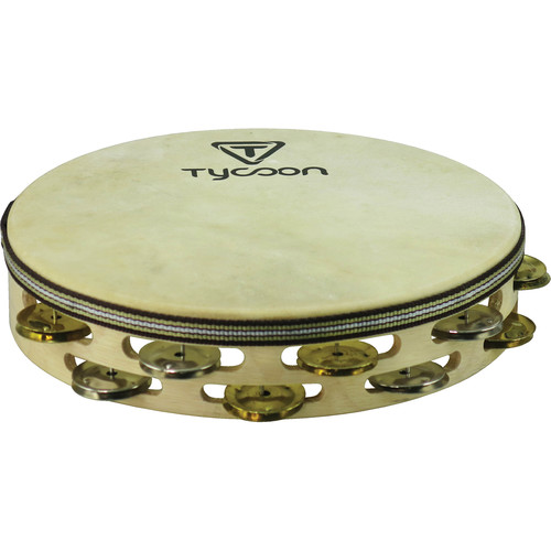 Tycoon Percussion Double Row Headed Tambourine (8 Pairs of Bright Chrome/8 Pairs of Bright Brass Jingles)