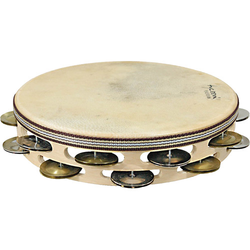 Tycoon Percussion Double Row Headed Wooden Tambourine with Chrome and Brass Jingles
