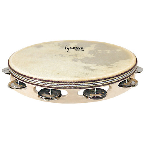 Tycoon Percussion Single Row Headed Tambourine (Chrome Jingles)