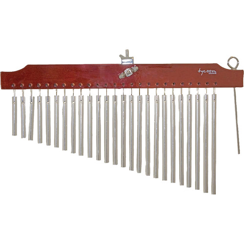 Tycoon Percussion 25 Chrome Bar Chimes on Brown Finish Wood Bar
