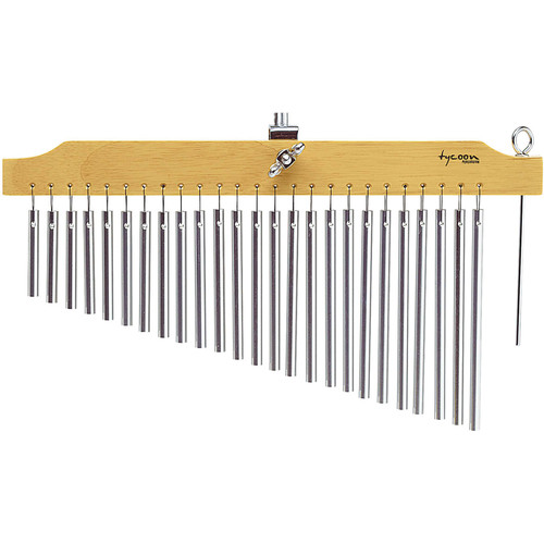 Tycoon Percussion 25 Chrome Bar Chimes on Natural Finish Wood Bar