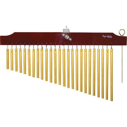 Tycoon Percussion 25 Gold Bar Chimes on Brown Finish Wood Bar