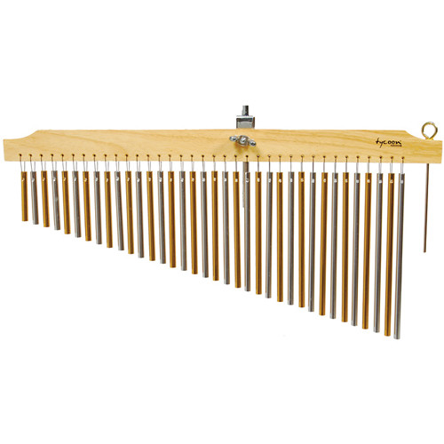 Tycoon Percussion 36 Chrome Bar Chimes on Natural Finish Wood Bar
