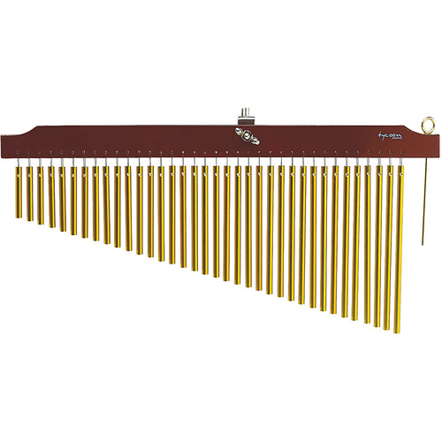 Tycoon Percussion 36 Gold Bar Chimes on Brown Finish Wood Bar