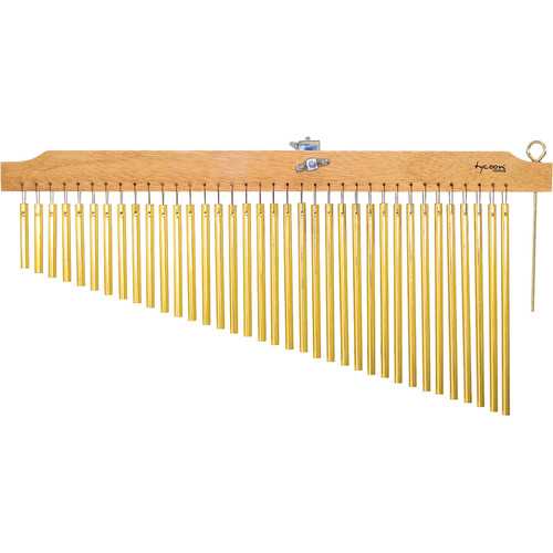 Tycoon Percussion 36 Gold Bar Chimes on Natural Finish Wood Bar