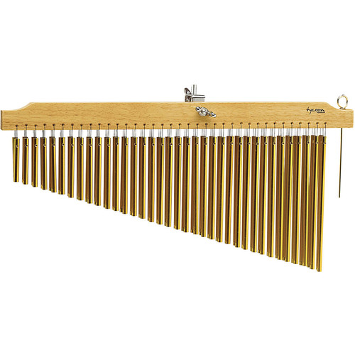 Tycoon Percussion 72 Gold Bar Chimes on Natural Finish Wood Bar