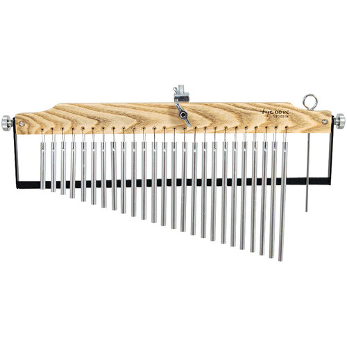 Tycoon Percussion 25 Chrome Master Grand Series Bar Chimes on Ash Wood