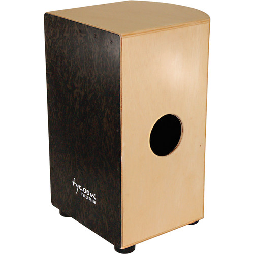 Tycoon Percussion Roundback Series Black Makah Burl Frontplate and Siam Oak Body Cajon