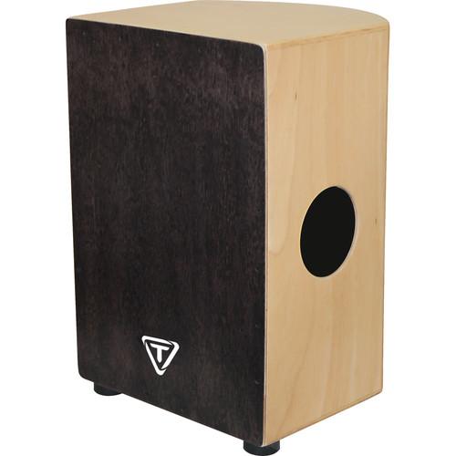 Tycoon Percussion 35 Roundback Series Black Makah Burl Frontplate Siam Oak Body Cajon