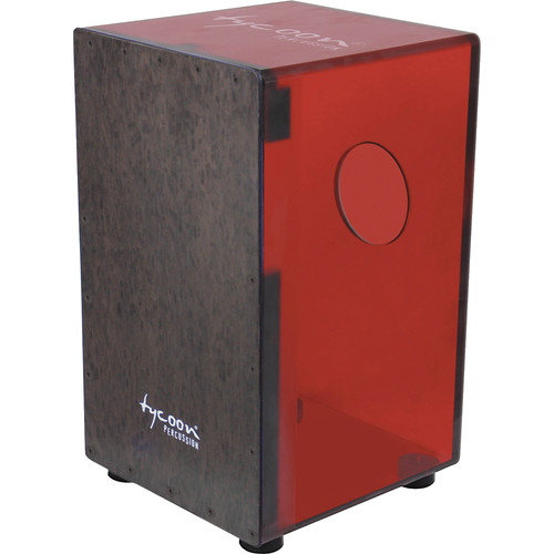 Tycoon Percussion Cherry Red Acrylic Body Black Makah Burl Frontplate Cajon