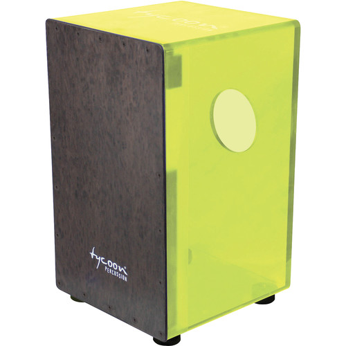 Tycoon Percussion Neon Green Acrylic Body Black Makah Burl Frontplate Cajon