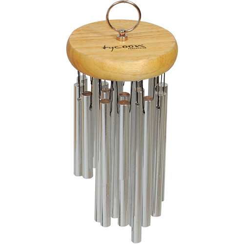Tycoon Percussion 12 Chrome Hand Chimes on Siam Oak Bar