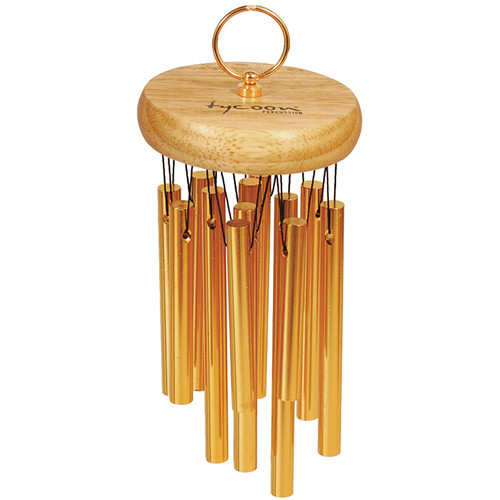 Tycoon Percussion 18 Gold Plated Hand Chimes on Siam Oak Bar