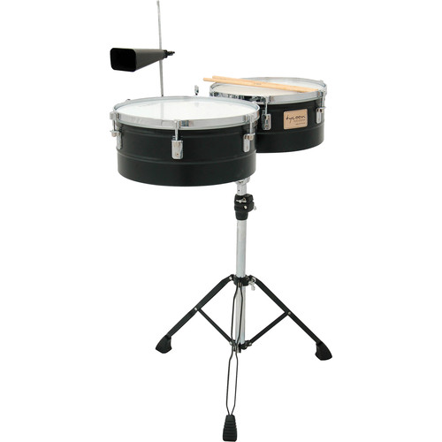 "Tycoon Percussion 13 & 14"" Standard Depth Timbales (Black-Powder Coated)"