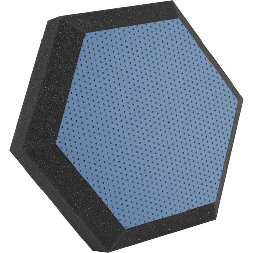 "Ultimate Acoustics UA-HX-12BLU Hex Series Hexagon Foam Wall Panel 12"" Charcoal (Pair, Blue Vinyl)"