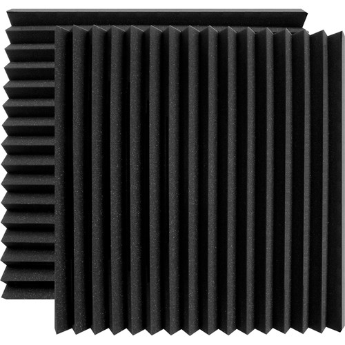 "Ultimate Acoustics 24 x 24 x 2"" Wedge-Style Acoustic Panels (Charcoal, Pair)"