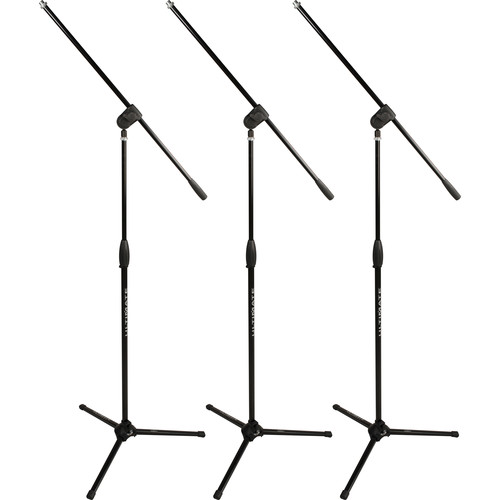 Ultimate Support MC-40B Pro Classic Series Tripod Microphone Stand with Fixed-Length Boom (3-Pack)