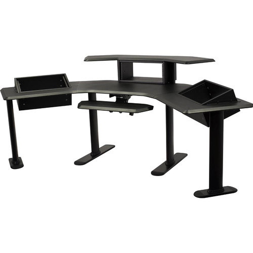 """Ultimate Support Nucleus 5 Modular Studio Desk with 24"""" Extensions, 2nd Tier, Keyboard Shelf, and Three Equipment Racks"""