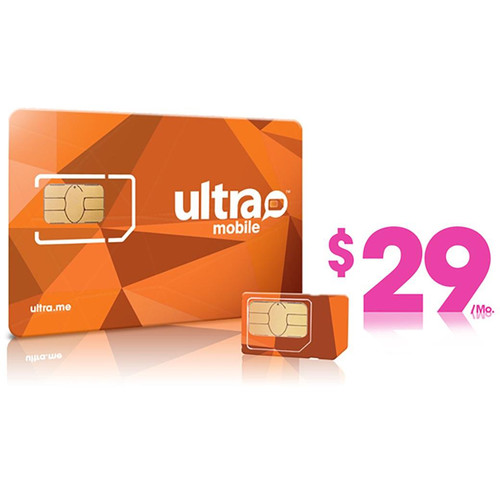Ultra Mobile $29 International Plan with 3-Size SIM Card Pack