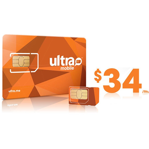 Ultra Mobile $34 Data Plus Plan with 3-Size SIM Card Pack
