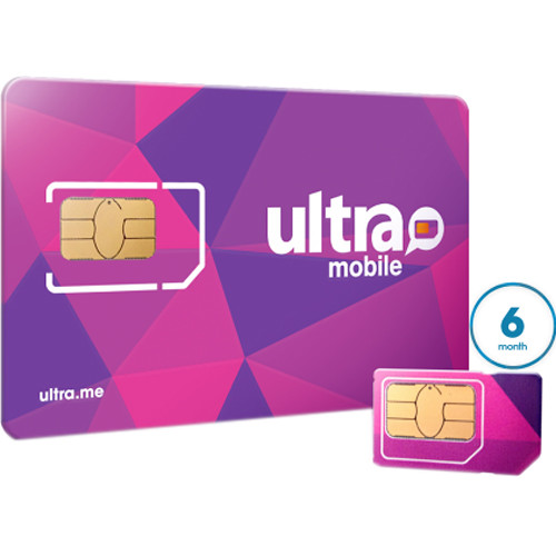 Ultra Mobile 6-Month International Plan with 3-Size SIM Card Pack