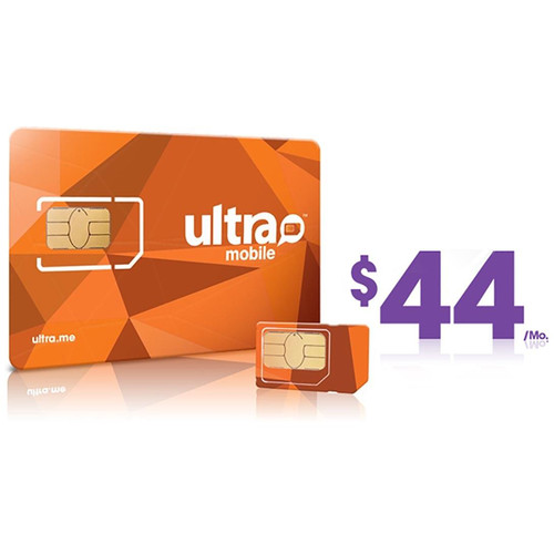 Ultra Mobile $44 Unlimited Data Plus Plan with 3-Size SIM Card Pack