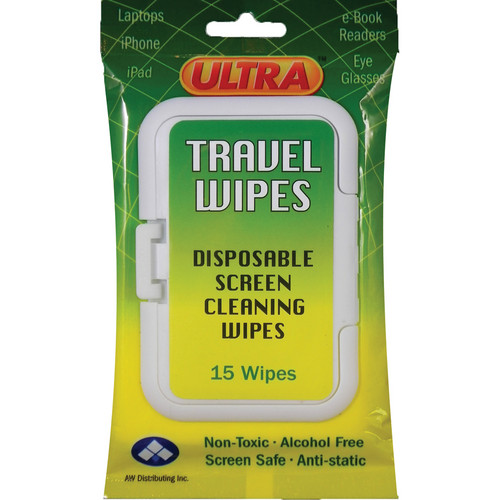 ULTRA SCREEN CLEANER UWT-15 Ultra Screen Multipurpose Travel Wipes (White, 15-Pack)