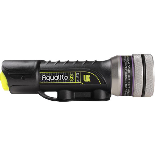 Underwater Kinetics Aqualite-S eLED UV-395 Dive Light for Fluorescence (Black/Silver)