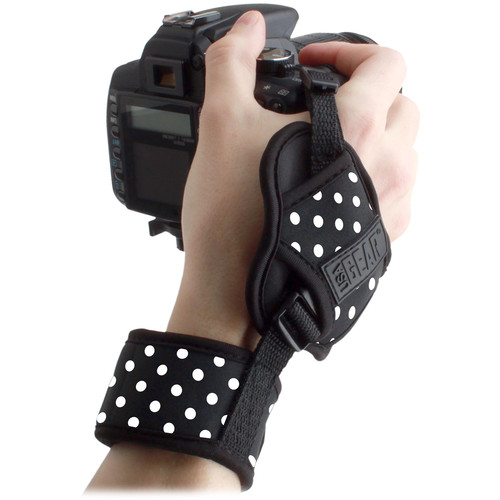 USA GEAR DSLR Camera Hand Grip Strap with Metal Plate (Polka Dot)
