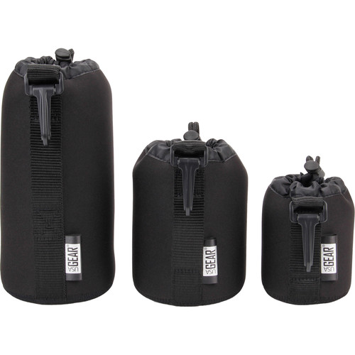 USA GEAR FlexARMOR FlexSLEEVE Lens Pouch Case Set (Black)