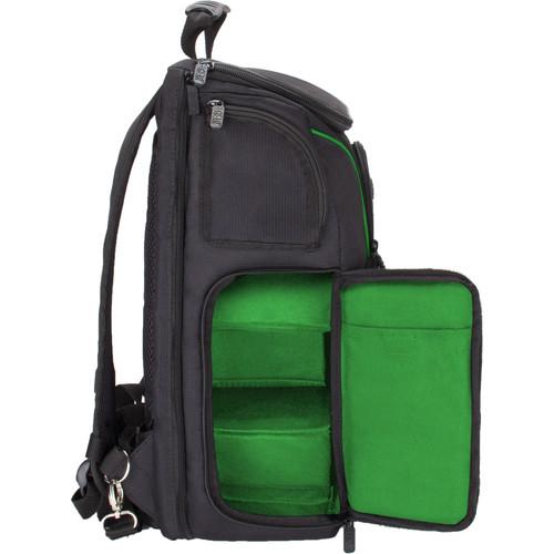 USA GEAR S17 DSLR Camera Backpack (Black/Green Interior)