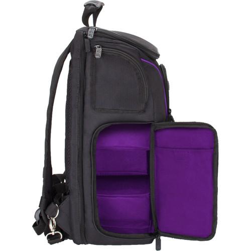 USA GEAR S17 DSLR Camera Backpack (Black/Purple Interior)
