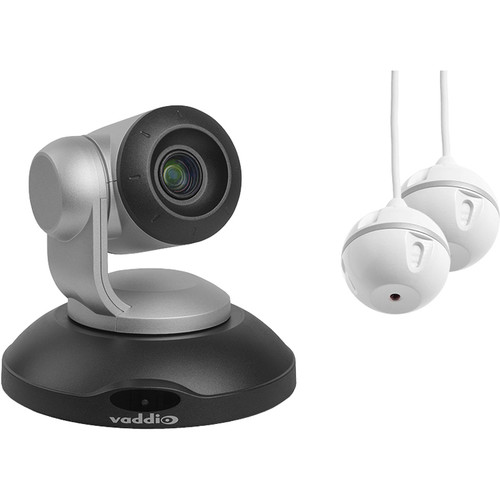 Vaddio ConferenceSHOT AV PTZ Camera and Two EasyMIC Ceiling MicPODs Bundle (Black)