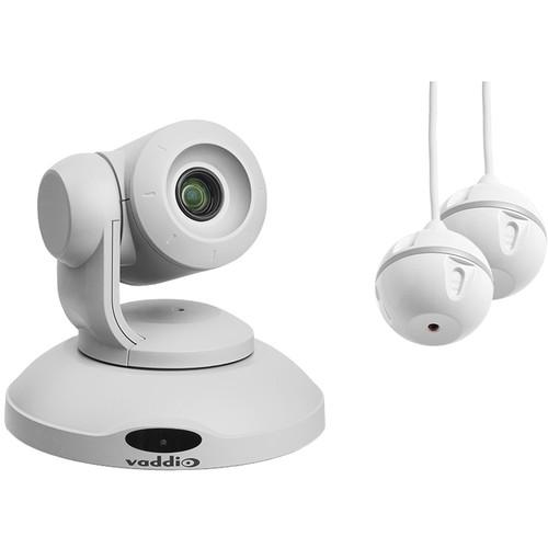 Vaddio ConferenceSHOT AV PTZ Camera and Two EasyMIC Ceiling MicPODs Bundle (White)