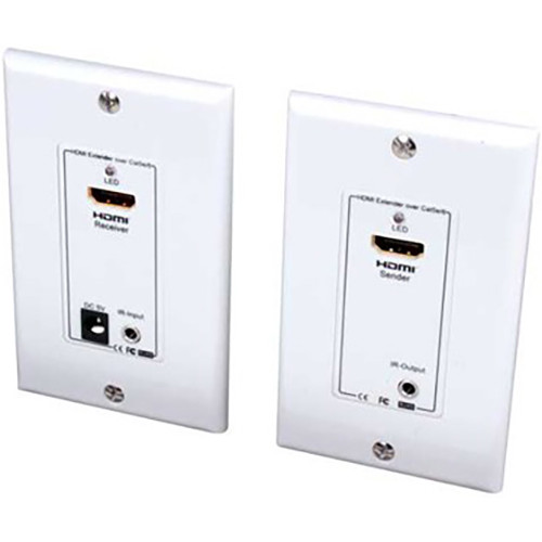 Vanco HDMI Wall Plate Extender Set over Dual Cat 6/5e Cables