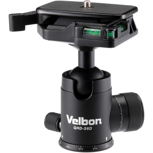 """Velbon Ball Head with Two Stopper Knobs and 3/8"""" Tripod Socket with 1/4"""" Adapter (Aluminum)"""