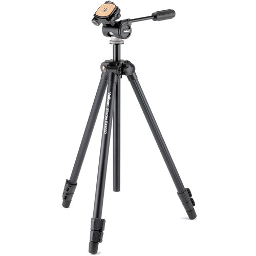 """Velbon 3-Section Field Tripod 1/4"""" Screw Mount And 3/8"""" Adapter Detachable 3-Way Panhead with Qr Plate"""